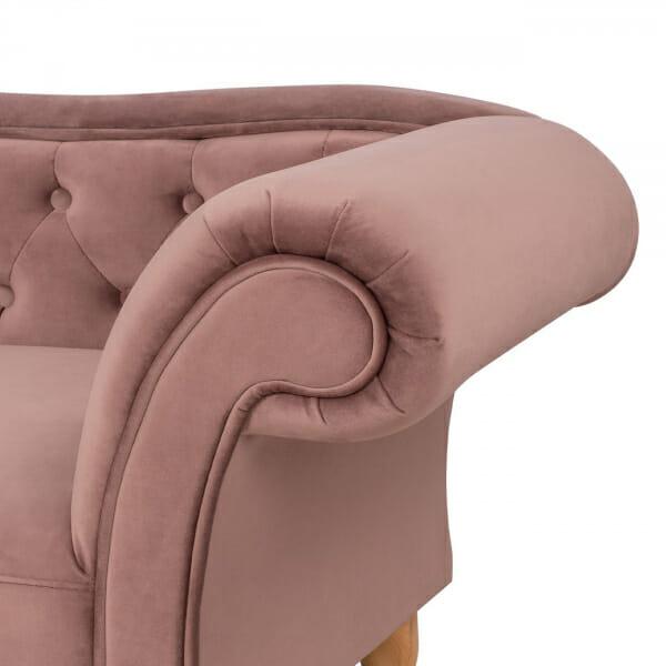 Стилна лежанка канапе с дамаска от кадифе в розов цвят-детайли подлакътници