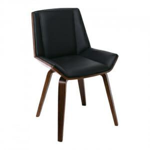 Трапезен стол от дърво в цвят орех и еко кожа в черно