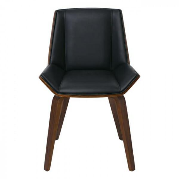 Трапезен стол от дърво в цвят орех и еко кожа в черно-отпред