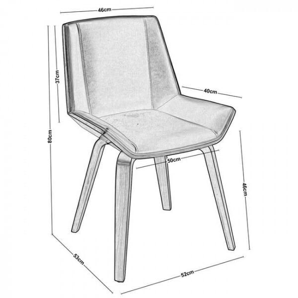 Трапезен стол от дърво в цвят орех и еко кожа в черно-размери