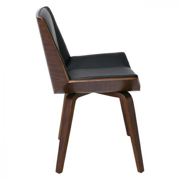 Трапезен стол от дърво в цвят орех и еко кожа в черно-странично