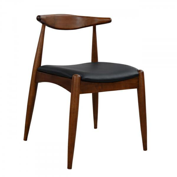 Трапезен стол в цвят орех и тапицерия от еко кожа