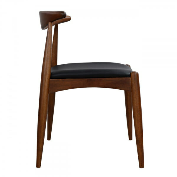 Трапезен стол в цвят орех и тапицерия от еко кожа-странично