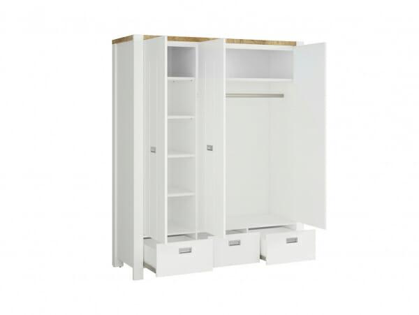 Трикрилен гардероб с 3 чекмеджета Древизо - разпределение