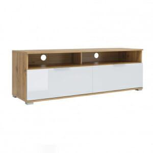 ТВ шкаф с 2 лакирани чекмеджета в бяло Зелле