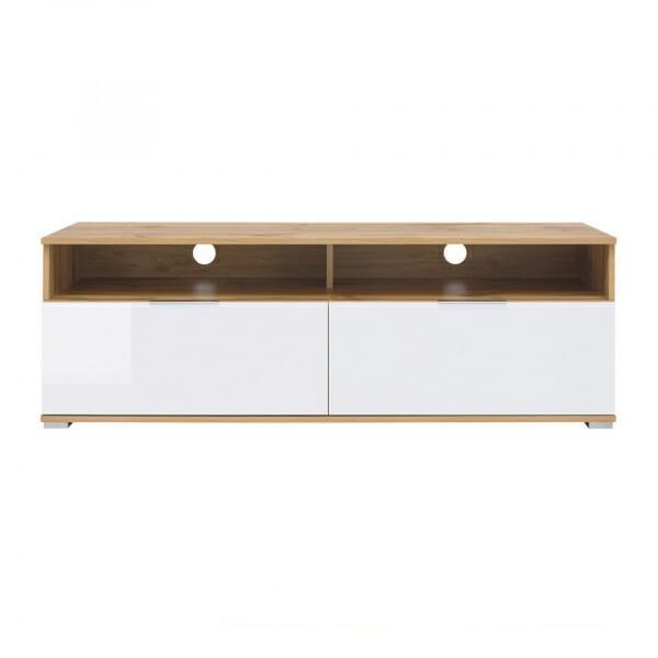 ТВ шкаф с 2 лакирани чекмеджета в бяло Зелле - отпред