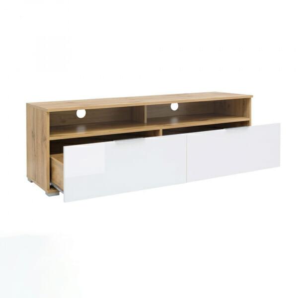 ТВ шкаф с 2 лакирани чекмеджета в бяло Зелле - разпределение