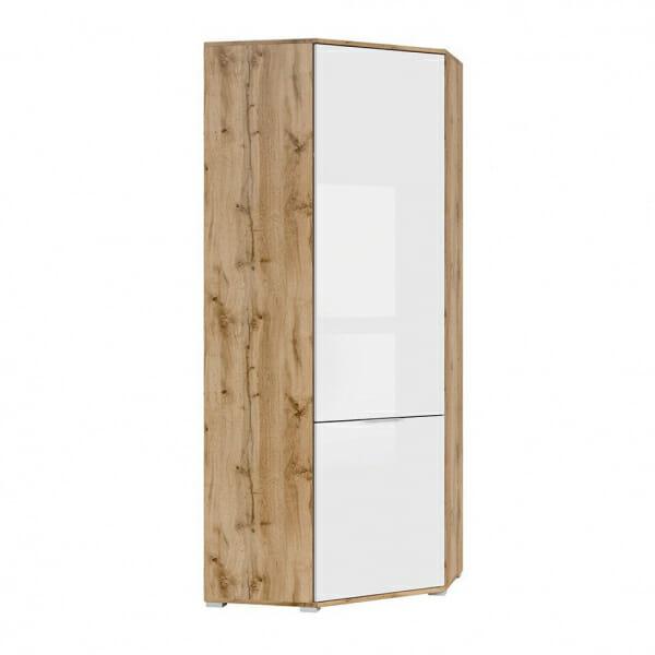 Ъглов гардероб с бяла гланцирана врата Зелле