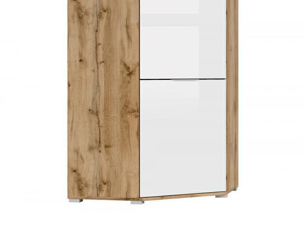 Ъглов гардероб с бяла гланцирана врата Зелле - детайл