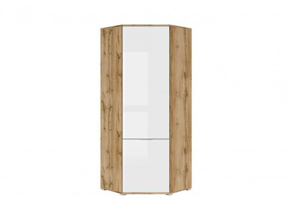 Ъглов гардероб с бяла гланцирана врата Зелле - отпред
