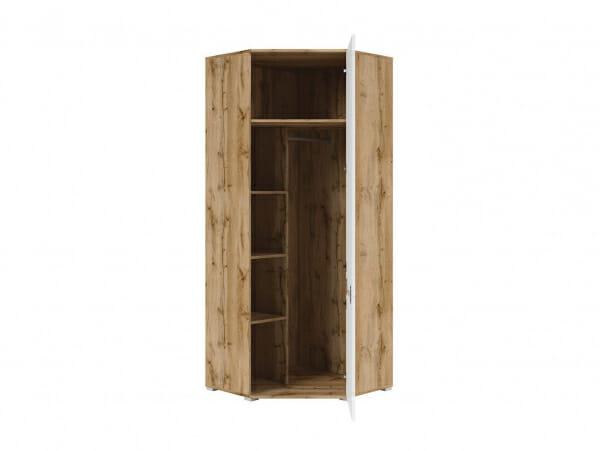 Ъглов гардероб с бяла гланцирана врата Зелле - разпределение
