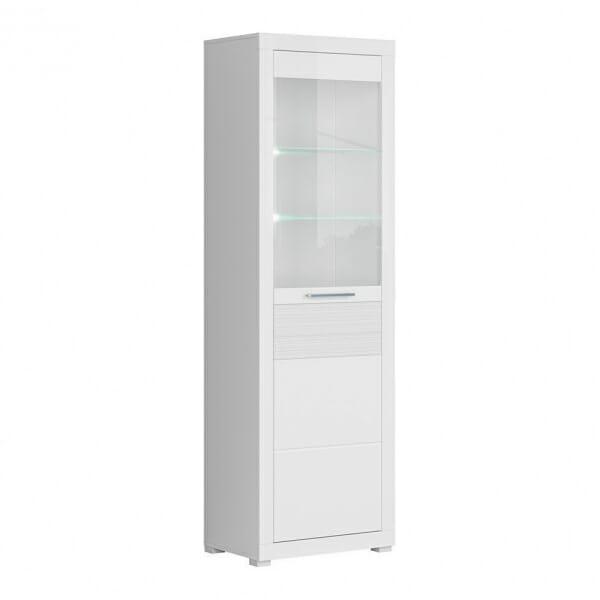 Висок бял шкаф витрина с осветление Флеймс