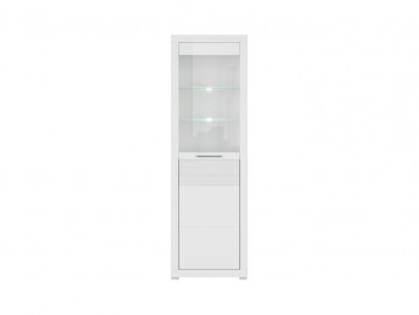 Висок бял шкаф витрина с осветление Флеймс - отпред