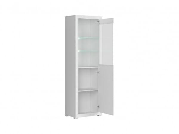Висок бял шкаф витрина с осветление Флеймс - разпределение