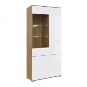 Висок шкаф с 4 бели врати и витрина Зелле