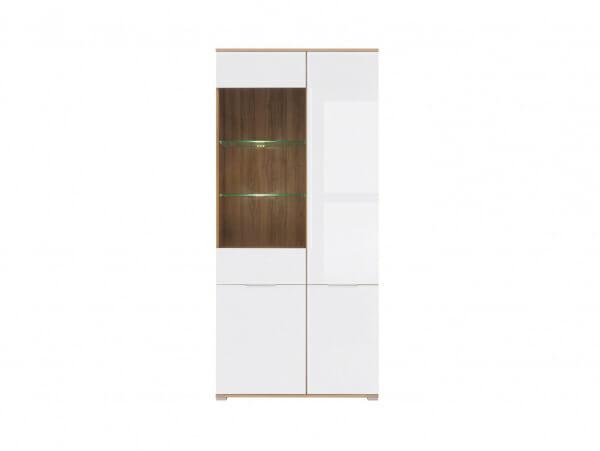 Висок шкаф с 4 бели врати и витрина Зелле - отпред