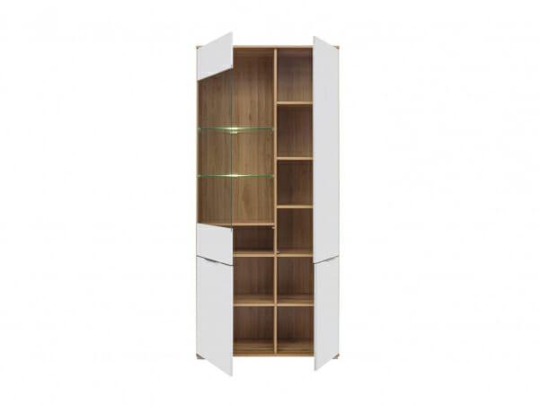 Висок шкаф с 4 бели врати и витрина Зелле - разпределение