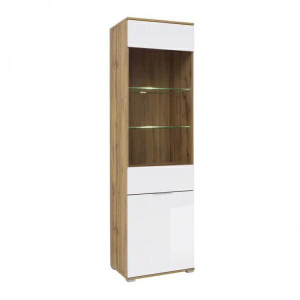 Висок шкаф със стъклена витрина и бял гланц Зелле