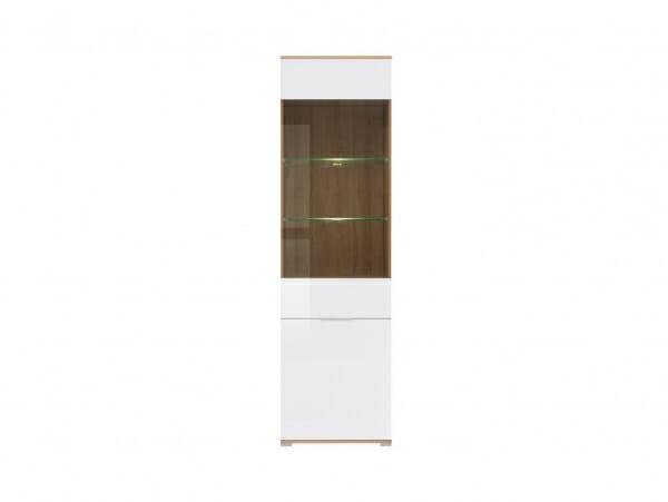 Висок шкаф със стъклена витрина и бял гланц Зелле - отпред