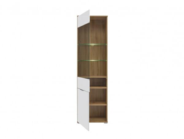 Висок шкаф със стъклена витрина и бял гланц Зелле - разпределение