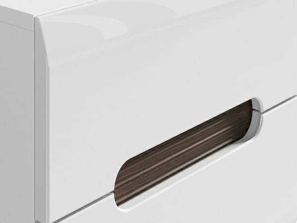 Бяло нощно шкафче с 2 чекмеджета Ацтека - детайл