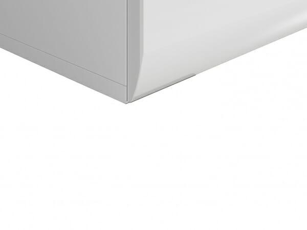 Бяло нощно шкафче с 2 чекмеджета Ацтека - детайл долна част