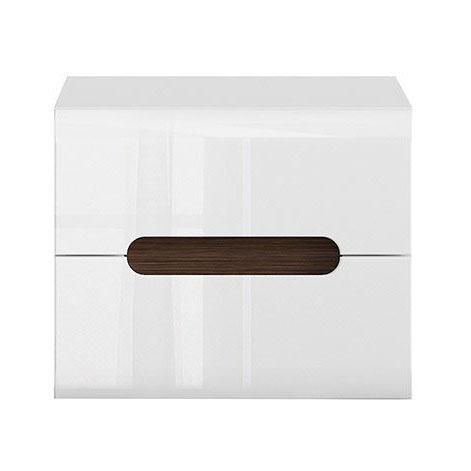 Бяло нощно шкафче с 2 чекмеджета Ацтека - отпред