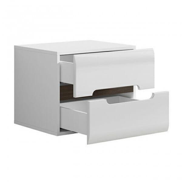 Бяло нощно шкафче с 2 чекмеджета Ацтека - разпределение