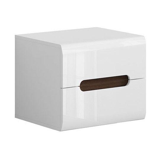 Бяло нощно шкафче с 2 чекмеджета Ацтека