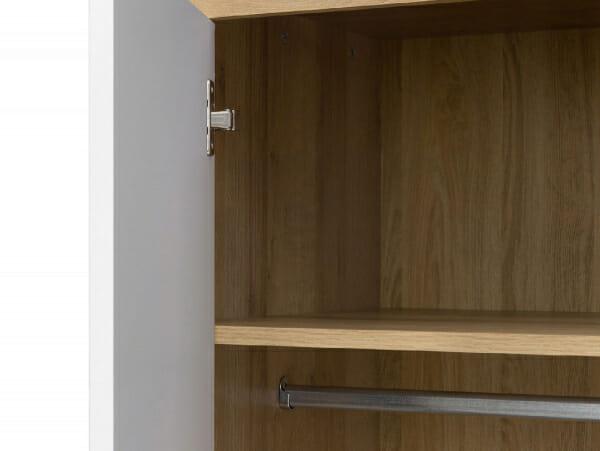 Двукрилен гардероб в дървесен цвят и бяло Балдер - детайл