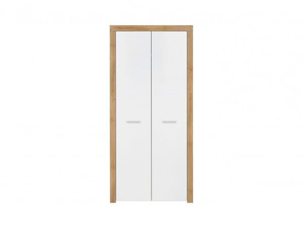 Двукрилен гардероб в дървесен цвят и бяло Балдер - отпред
