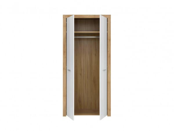 Двукрилен гардероб в дървесен цвят и бяло Балдер - разпределение