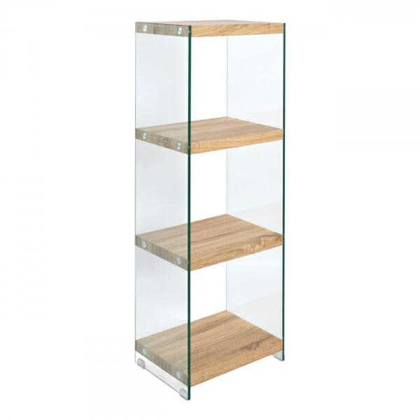 Етажерка от стъкло с четири рафта в дървесен цвят