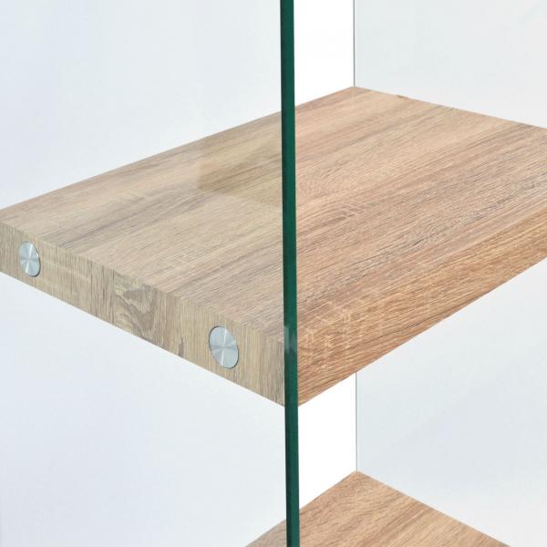 Етажерка от стъкло с четири рафта в дървесен цвят-детайли рафт