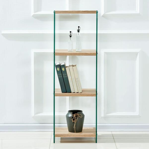 Етажерка от стъкло с четири рафта в дървесен цвят-примерна подребда