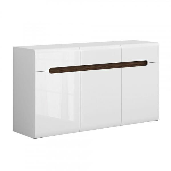 Голям шкаф с 3 чекмеджета Ацтека - бяло с бял гланц