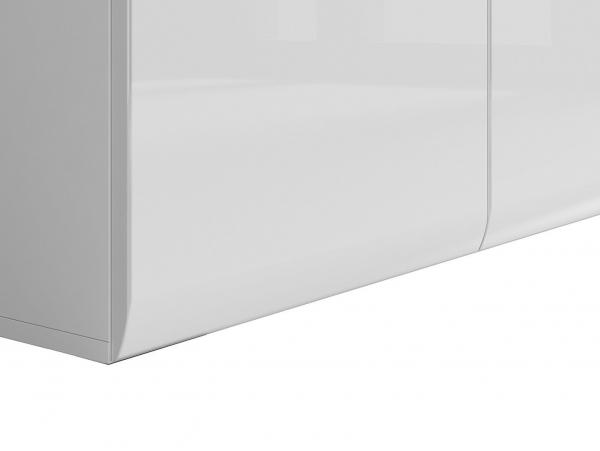 Голям шкаф с 3 чекмеджета Ацтека - бяло с бял гланц - детайл долна част