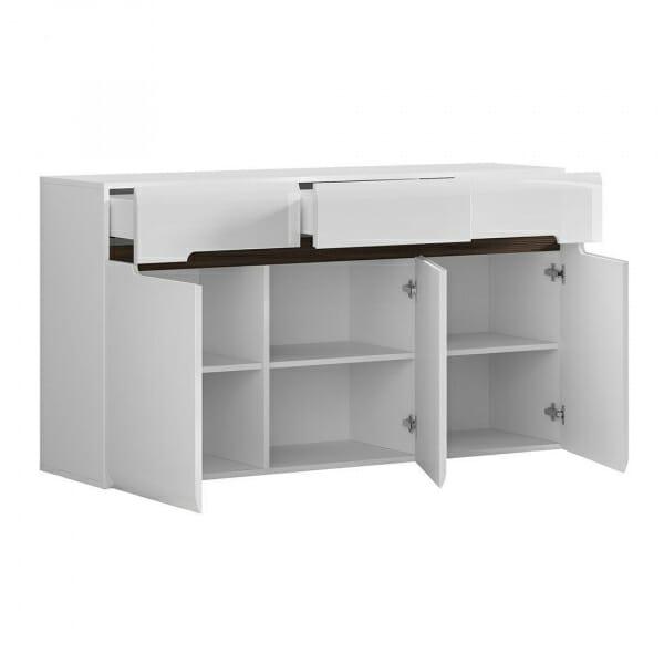 Голям шкаф с 3 чекмеджета Ацтека - бяло с бял гланц - разпределение