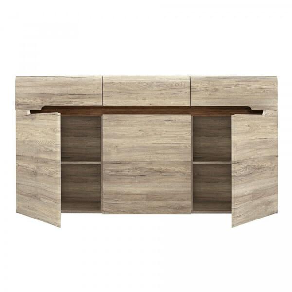Голям шкаф с 3 чекмеджета Ацтека - дъб сан ремо - изглед разпределение