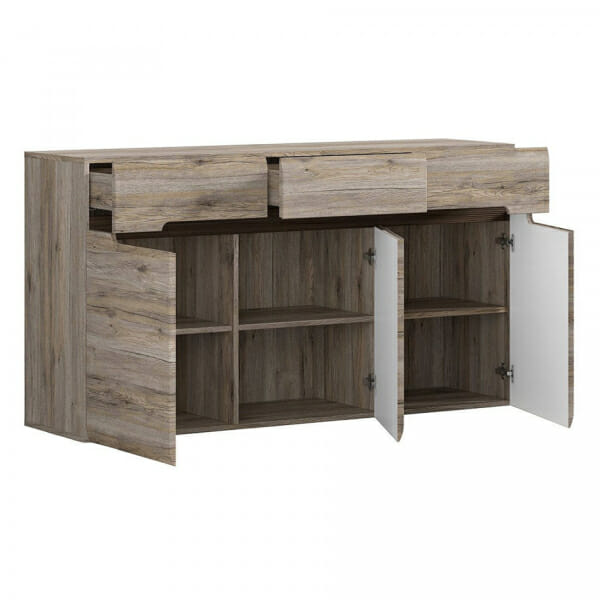 Голям шкаф с 3 чекмеджета Ацтека - дъб сан ремо - разпределение