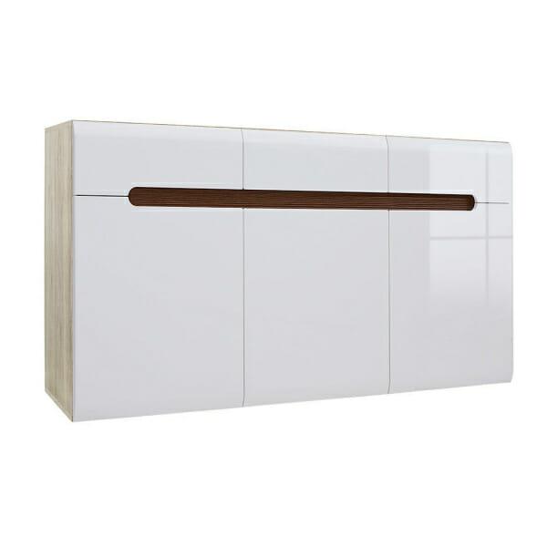 Голям шкаф с 3 чекмеджета Ацтека - дъб сан ремо с бял гланц