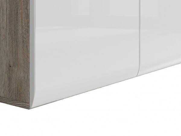 Голям шкаф с 3 чекмеджета Ацтека - дъб сан ремо с бял гланц - детайл долна част