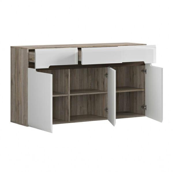 Голям шкаф с 3 чекмеджета Ацтека - дъб сан ремо с бял гланц - разпределение