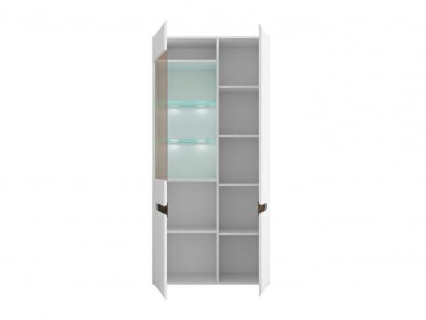 Голям шкаф витрина с осветление Ацтека - бяло с бял гланц - разпределение