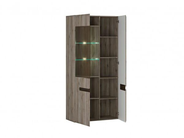 Голям шкаф витрина с осветление Ацтека - дъб сан ремо - разпределение