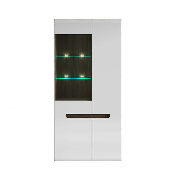 Голям шкаф витрина с осветление Ацтека - дъб сан ремо с бял гланц
