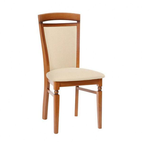 Класически стол от дърво и текстил Бавария - бежов с череша