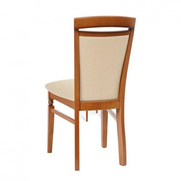 Класически стол от дърво и текстил Бавария - бежов с череша - отзад