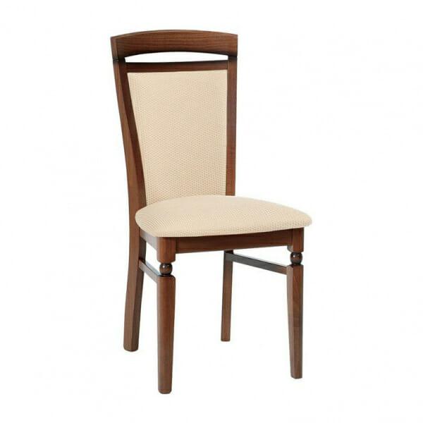 Класически стол от дърво и текстил Бавария - бежов с орех