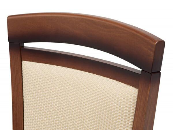 Класически стол от дърво и текстил Бавария - бежов с орех детайл